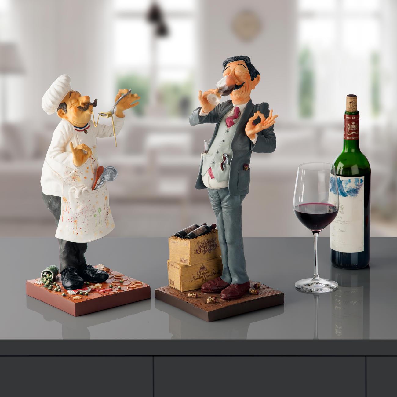 figurine forchino cuisinier ou le connaisseur en vin. Black Bedroom Furniture Sets. Home Design Ideas