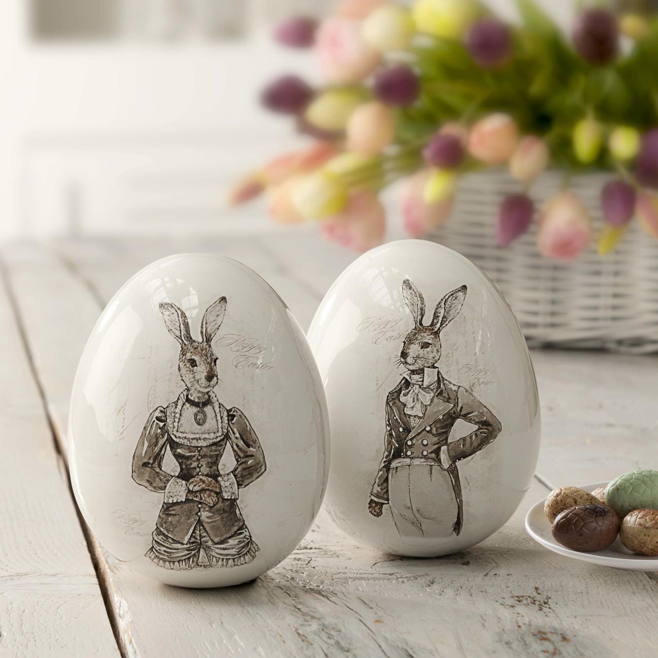 ufs de p ques nostalgiques couple de lapins pas cher. Black Bedroom Furniture Sets. Home Design Ideas