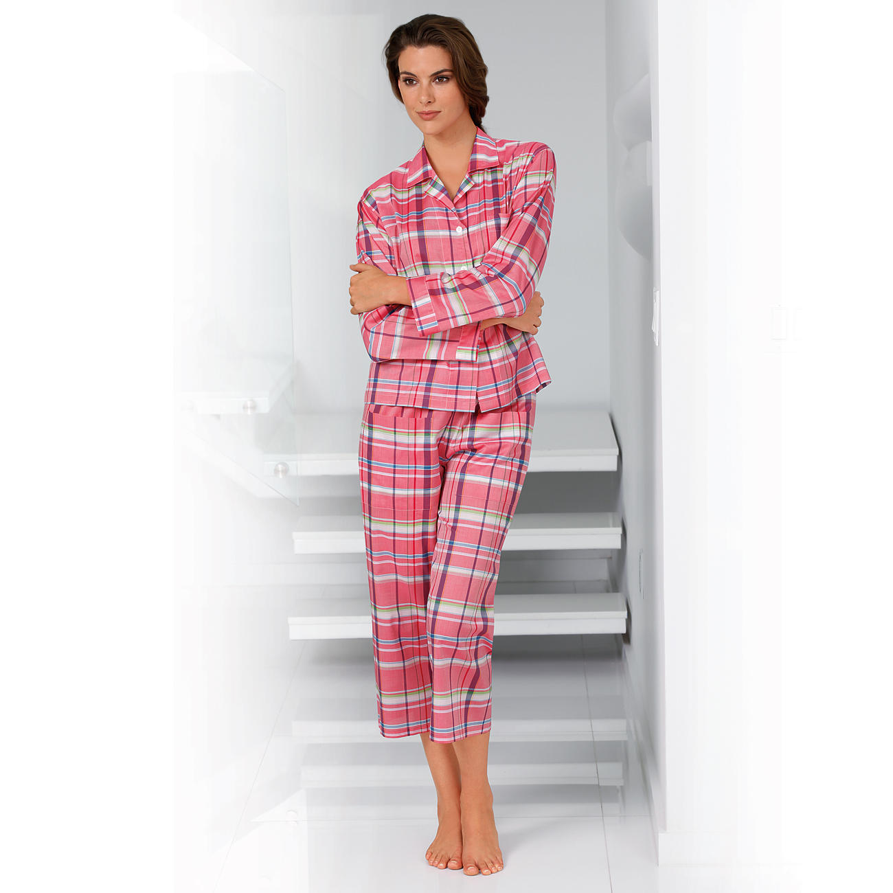 Pyjama novila en carreaux rose blanc pas cher pro idee for Pyjama carreaux