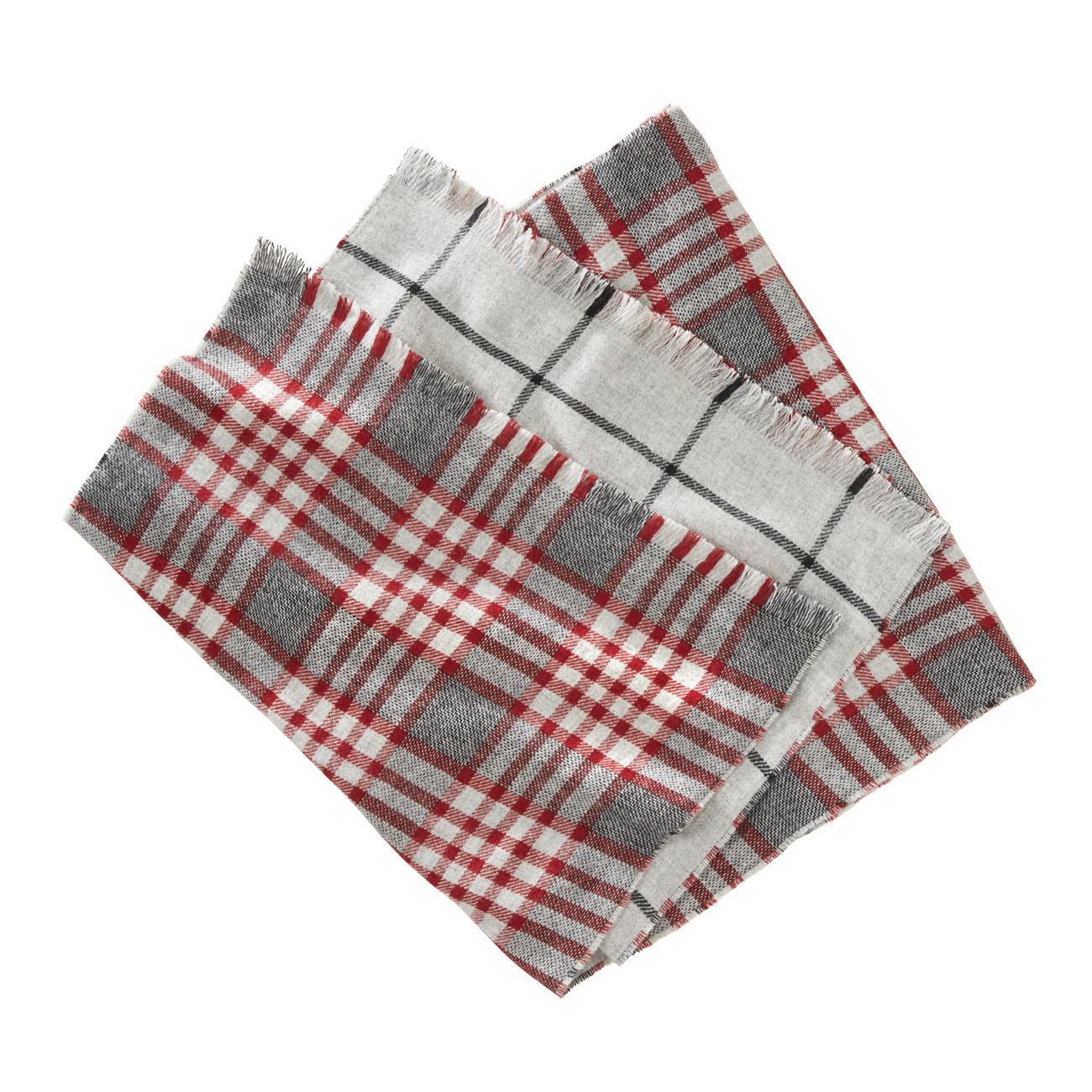 Écharpe double face à carreaux Johnstons, rouge gris - Une belle écharpe  double face. Deux motifs classiques. Par Johnstons of Elgin, Écosse. acae32548b0