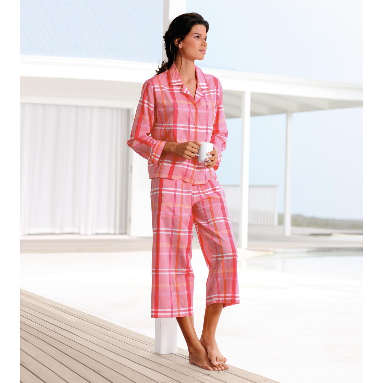 Pyjama carreaux novila orange rose pas cher pro idee for Pyjama a carreaux