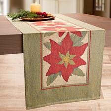 Chemin de table « Etoile de Noël » - Un chemin de table comme un tableau. Luxueux tissage en technologie Pixel 3 couleurs innovante.