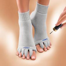 """Chaussettes wellness """"Happy Feet"""" - Délassement des pieds meurtris par les escarpins. Chaussettes détente pour vos orteils, brevetées aux USA."""