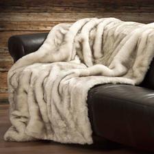 Couverture en fourrure synthétique de renard polaire - Toucher soyeux aux luxueux poils longs et effet ton-sur-ton réussi. La qualité à prix abordable.