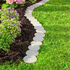 Bordure de jardin galets variables, lot de 12 pièces - Ultra précise, facile à placer. Système emboîtable breveté. En synthétique durable, teneur en bois 30 %.