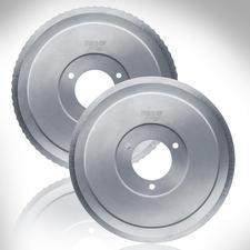 Lame en acier inox avec bord denté et lame lisse pour jambons et charcuterie, tous deux à polissage électrolytique.