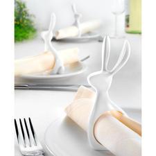 Ronds de serviette « Monsieur Lapin », lot de 6 pièces - Rond de serviette pratique, élégant ornement de table et décoration de Pâques moderne.