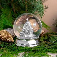 Boule à neige argentée - Secouez-la pour déclencher une « tempête de neige »