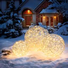 Sphère lumineuse en alu - Objet lumineux mystérieux. Pour l'intérieur et l'extérieur.