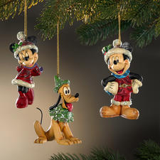 Figurines traditionnelles de Noël Disney - Noël avec Mickey, Minnie et Pluto.