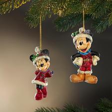 Figurines traditionnelles de Noël Disney - Noël avec Mickey, Minnie et Pluto.