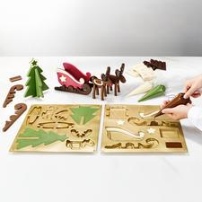 Moule à chocolat « traîneau avec rennes » - Superbe décoration de l'Avent en chocolat. Par le décorateur professionnel Silikomart®.