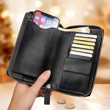 À gauche, l'étui pour portable. À droite, 6emplacements pour cartes ainsi que le compartiment à monnaie avec fermeture par bouton-pression. À l'arrière, 2 grands compartiments à billets et documents.