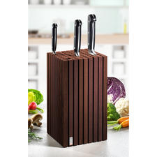 Bloc de couteaux design - Un espace flexible pour jusqu'à 12 (!) couteaux de presque toutes les tailles. Design élégant en bois de hêtre.