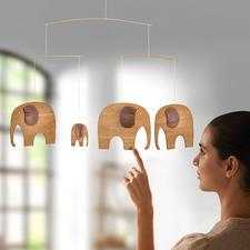 Mobile de luxe, parade des éléphants « The Elefant Party » - Le légendaire mobile éléphant du Danemark : autrefois destiné aux enfants – aujourd'hui en version adulte, en bois de teck et cuir.