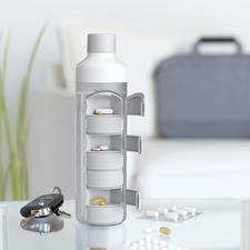Gourde avec pilulier - Vos comprimés seront toujours avec vous – et l'eau directement à portée de main.