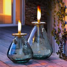 Lampe à huile en verre recyclé - Suffisamment robuste pour une utilisation en extérieur toute l'année : la lampe à huile en verre recyclé.