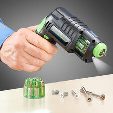 Perceuse sans fil 3-en-1 - Rangez poinçons, perceuse et tournevis sans fil : un seul outil compact vous suffit !