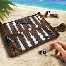 Backgammon de voyage - Backgammon élégant en daim souple. Idéal pour les voyages.