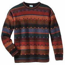Le pull « Automne irlandais» - Le pull irlandais aux teintes tourbe, baies, feuillage et mousse. Noble jacquard fait main.