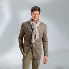 Veste en soie motif chevrons Di Pray, Brun - Idéale pour l'été: la veste en pure soie. Ses tons discrets s'accordent avec toutes les couleurs unies.
