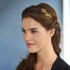 Couronne de déesse, Avigail Adam - Un bijou tendance et stylé pour tous types de coiffure. Doré. Avec fleurs et feuilles forgées à la main.