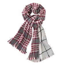 Écharpe double face à carreaux Johnstons, rouge/gris - Une belle écharpe double face. Deux motifs classiques. Par Johnstons of Elgin, Écosse.