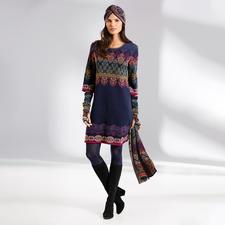 Robe, Turban, Manchons ou Écharpe en tricot jacquard Ivko - Une rareté provenant de Serbie : un tricot jacquard dans une variété extraordinaire de couleurs et de motifs.