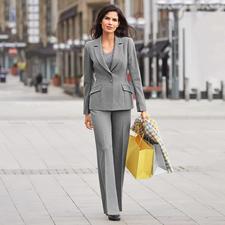 Blazer ou Pantalon tailleur Barbara Schwarzer - Aspect laine noble. Coupe façon haute couture. Design moderne. Matériau adapté au quotidien.