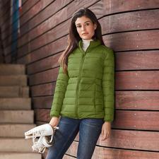 Veste en duvet recyclé, pour femme - Beaucoup de chaleur. Peu de poids. Et une bonne conscience. La rare veste tendance en duvet recyclé.