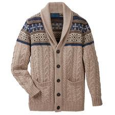 Cardigan à col châle Carbery - Avec col châle, motifs torsadé et norvégien. Du tricoteur Carbery de Clonakilty.