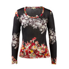 Pullover floral à jauge 30 Pashma, noir - Rares sont les pullovers à motifs tendances aussi luxueux (et néanmoins abordables).