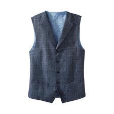 Gilet Carl Gross - Ce gilet élégant et léger en laine vierge et lin est l'alternative parfaite.