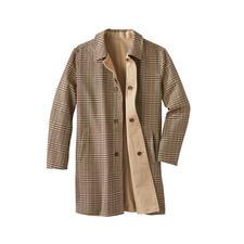 Manteau réversible en coton - Aujourd'hui, beige intemporel. Demain, motif pied de poule tendance.