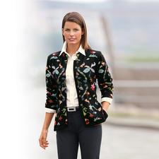 Veste en tricot en alpaga Fleurs - Le chef d'œuvre provenant des Andes. Veste en tricot en précieux alpaga. Tricotée à la main en 33 couleurs.