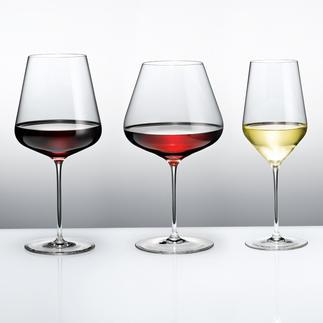 Calices à bourgogne, Verres à bordeaux ou Verres à vin blanc Zalto Denk'Art Ultra fin, brillant, laissant idéalement passer la lumière. Résistant aux chocs, compatible lave-vaisselle.