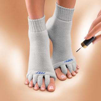 """Chaussettes wellness """"Happy Feet"""" Délassement des pieds meurtris par les escarpins. Chaussettes détente pour vos orteils, brevetées aux USA."""