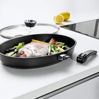 Poêle à poissons XXL en fonte d'aluminium Lotan® La meilleure poêle à poisson : en fonte d'aluminium à haute conductivité. Avec poignée amovible.