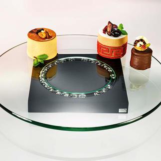 Plateau tournant en verre « Lazy Susi » Plus besoin de servir ni de se lever. Ce plateau tournant design se charge du service.