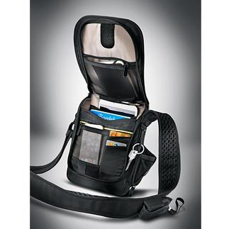 Sac en bandoulière antivol La besace résiste aux entailles, est sécurisée RFID & munie d'une alarme.