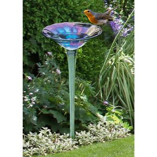 Bain d'oiseau arc-en-ciel en verre Superbe fleur en verre iridescent. En verre soufflé et moulé à la main.