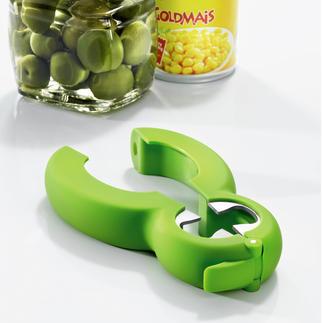 Multi-ouvreur 6-en-1 Un seul ustensile pour ouvrir les bocaux, les bouteilles, les cannettes, les sachets ...