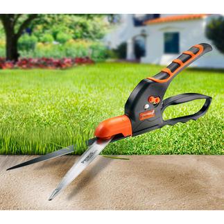Cisaille coupe-bordure dentée Coupe même l'herbe mouillée sans risque de coincer les feuilles. Économie de temps et d'énergie.