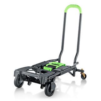 Chariot de transport pliable 2-en-1 Doublement pratique : chariot de transport et diable tout-en-un.