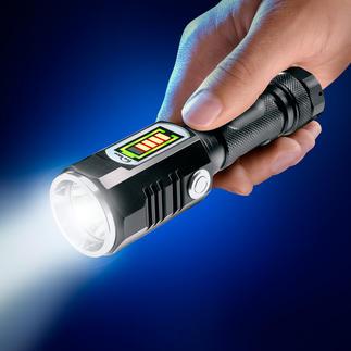 Lampe de poche avec batterie et faisceau latéral Portée jusqu'à 174 m. Avec faisceau de proximité 3 W sur la côté.  Se range dans une boîte à gants, un sac.