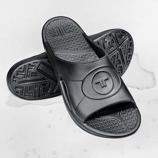 Mules et Tongs ultralégères en Novalon™ Épousent la forme de vos pieds et vous assurent une totale relaxation. Anti-allergéniques et sans latex.