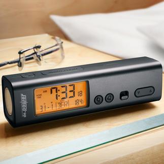 Réveil de voyage radioguidé 3 en 1 Compact. Léger. Précision de l'horloge atomique. Parfait chez soi et en voyage.