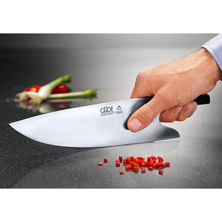 "Couteau de cuisine Güde ""THE KNIFE"" Trancher comme un professionnel – prise en main optimale, guidage optimal, sécurité optimale."