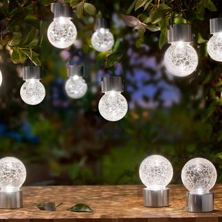 Sphères craquelées « Crackle Balls » Touches de lumière DEL pour la terrasse, le jardin. Fonctionne à l'énergie solaire. A suspendre ou à poser.