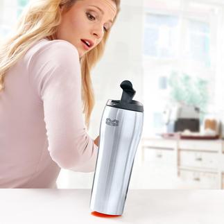 Mighty Mug® 100 % irrenversable. 100 % étanche. Liquides froids restent frais jusqu'à 12h, café/thé sont chaud jusqu'à 6h.